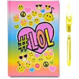 SmitCo LLC Journals For Girls - Diary Notebook - Light-Up Emoji Journals With 80 Blank Lined Pages And Invisible Ink Pen With Blue Light To Keep Her Secrets And Dreams Safe - Kids 5 Years And Over