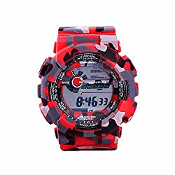 TAIXUN Kids Outdoor Sports Digatal Analog Dual Time TPU Band Electric Dress Wrist Watch Military Camouflage Led Waterproof Watch Red