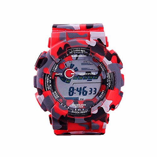 - TAIXUN Kids Outdoor Sports Digatal Analog Dual Time TPU Band Electric Dress Wrist Watch Military Camouflage Led Waterproof Watch Red