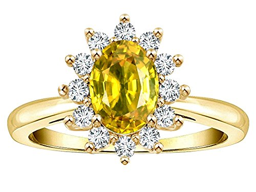 Star K Classic Oval 7x5 Lady Diana Halo Genuine Yellow Sapphire Ring 14 kt Yellow Gold Size 8.5 ()
