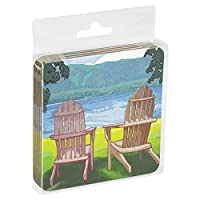Tree-Free Greetings ECO Coasters Box Set of 4 Drink Coasters, 3.5 x 3.5 Inch, Adirondack Chairs  (EC16094)