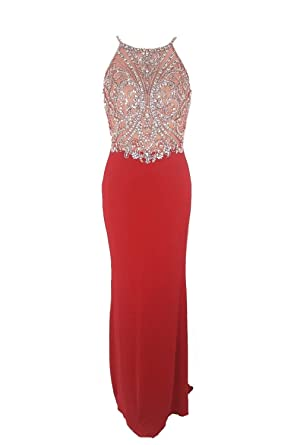Tiffanys Illusion Prom Madison Red Jewelled Top Crossover Back Dress UK 6 (US 2)