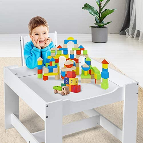 Costzon 3 In 1 Kids Wood Table & 2 Chair Set, Children Activity Table Desk Sets W/Storage Drawer, Detachable Blackboard For Toddlers Drawing Reading Art Playroom, 3-Piece Kiddy-Sized Furniture (Gray)