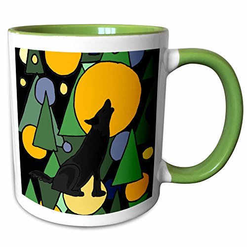 3dRose All Smiles Art Abstract - Colorful Wolf Howling at Moon Abstract Art - 15oz Two-Tone Green Mug (mug_196101_12) (Pics Of Wolves Howling At The Moon)