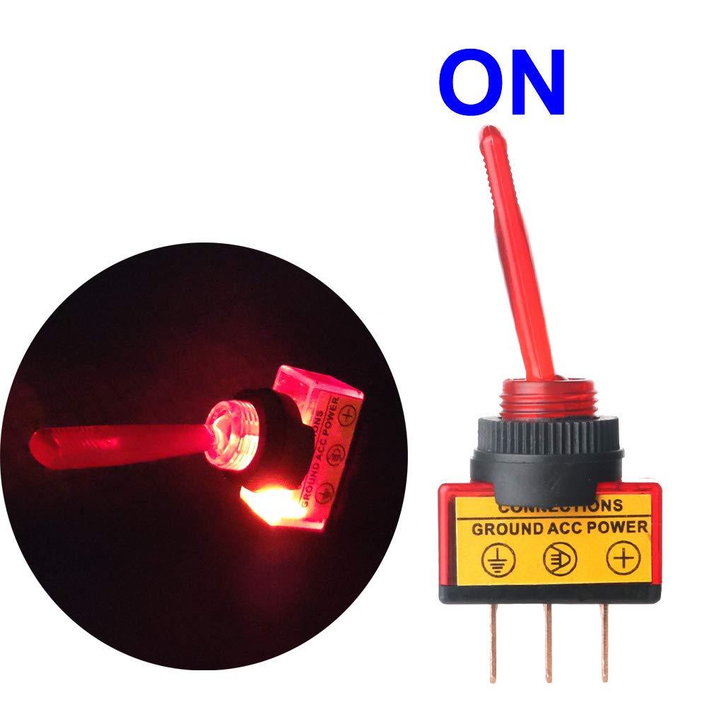 Interruptor de Palanca 2 Posiciones ON//Off SPST 3 Pin Rojo Rocker Toggle Switch para Auto Vehiculo Barco Gebildet 6 Piezas Conmutador de Palanca el Plastico 20A 12VDC