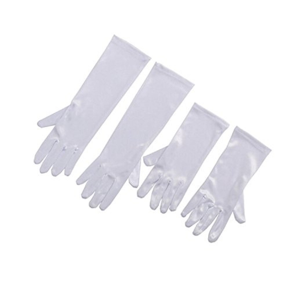 Audrey Hepburn Kids Satin White Gloves Flapper Halloween Accessory Costume All Occasion gloves for Girls