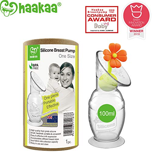 (Haakaa Breastpump with Suction Base and Flower Stopper 100% Food Grade Silicone BPA PVC and Phthalate Free (4oz/100ml) (Orange))
