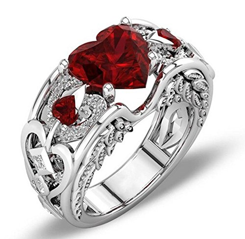 sandywident Princess 925 Sterling Silver Natural Ruby Gemstones Birthstone Bride Wedding Engagement Heart Ring Size 6 7 8 9 10 11 12 (Natural Princess)