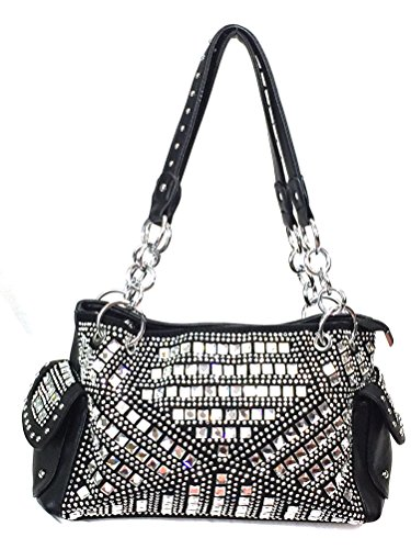 Zzfab Gem Studded Rhinestone Concealed and Carry Purse Black - Leather Studded Silver Black