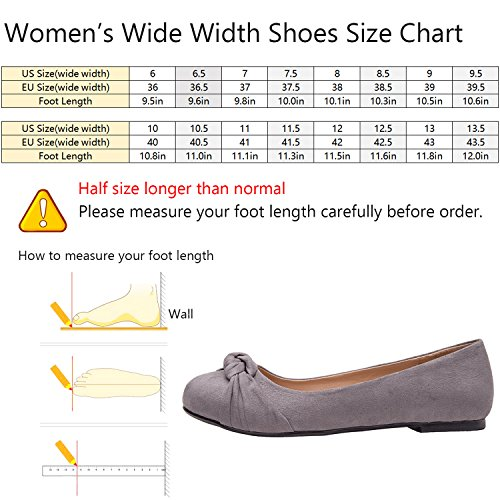 Image of Luoika Women's Wide Width Flat Shoes - Comfortable Slip On Round Toe Ballet Flats