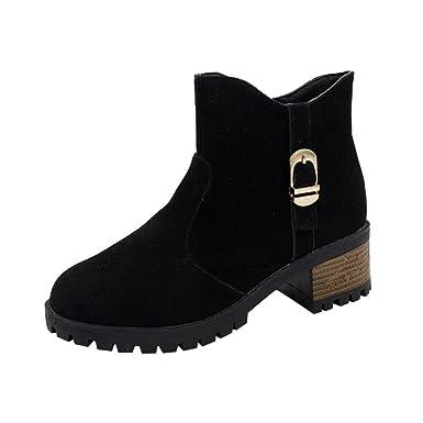 f03ea485d DENER Women Ladies Girls Ankle Boots with Heels,Waterproof Buckle Zipper  Low Heel Hiking Round