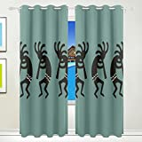 YOHHOY 2 Panel Set Teal And Black Kokopelli Southwest Printed Blackout Window Curtains for Bedroom Living Room Dining Room Kids Youth Room Window Drapes (W55× L84)