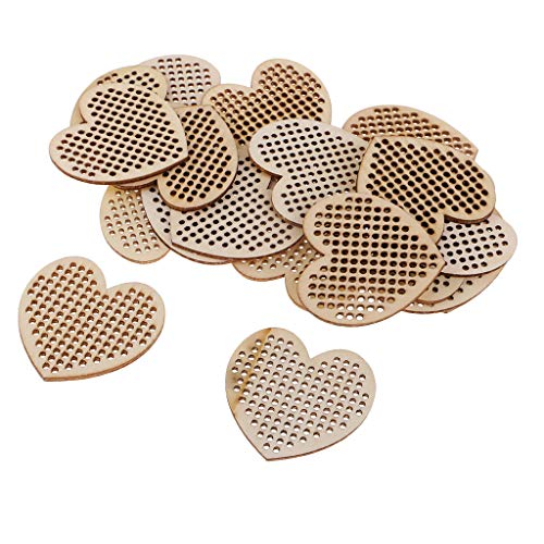 Baosity 20 Pieces Natural Wood Oval/Heart/Round Shapes Multi-Hole Wooden Pendant for Counted Cross Stitch Kit DIY Home Christmas Decoration Ornaments - 50mm Heart