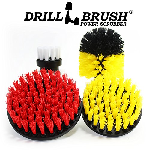 Price comparison product image Drillbrush Scrub Brush Drill Attachment Kit - Drill Powered Cleaning Brush Attachments - Time Saving Cleaning Kit - Great for Cleaning Pool Tile, Flooring, Brick, Ceramic, Marble, Grout, and Much More