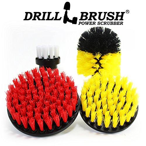 Powered Brush (Drillbrush Scrub Brush Drill Attachment Kit - Drill Powered Cleaning Brush Attachments - Time Saving Cleaning Kit - Great for Cleaning Pool Tile, Flooring, Brick, Ceramic, Marble, Grout, and Much More)