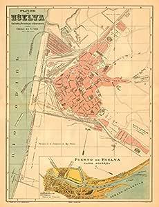 Huelva. Plano Antiguo de la cuidad. Antiguo Ciudad/ciudad Plan. Martin – C1911 – Old Antiguo Mapa Vintage – Mapas de Impreso de España: Amazon.es: Hogar