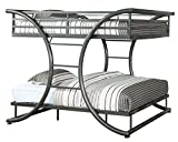 Furniture of America Central X-Shape Metal Bunk Bed, Full Over Full, Gun Metal