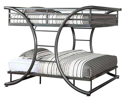 Furniture of America Central X-Shape Metal Bunk Bed, Full Over Full, Gun Metal