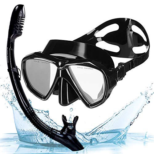 (Snowledge Snorkel Mask, Scuba Diving Mask with Tempered Glass, Impact Resistant Snorkel Set, Leak-Proof Dive Mask, Carry Bag Included)