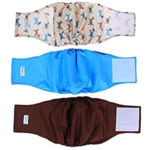 Teamoy Reusable Wrap Diapers for Male Dogs, Washable Puppy Belly Band 34