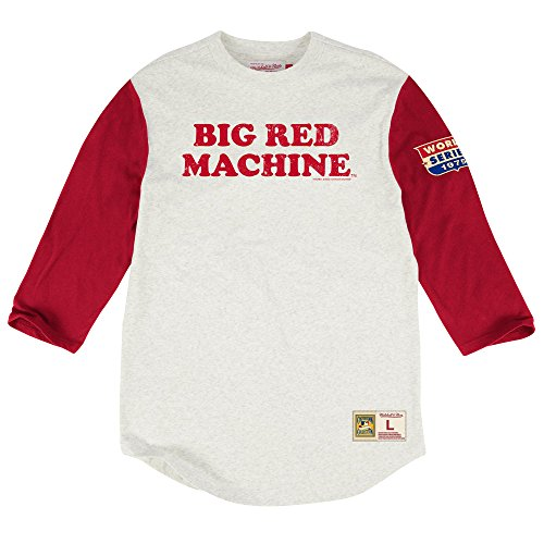 Cincinnati Reds Extra Out 3/4 Sleeve T-Shirt, MLB Mens Vintage Big Red Machine Tee Shirt (M)