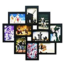 BestBuy Frames Wall Hanging Collage Picture Frame Black,Large 10-4x6 Multiple Opening Frame. Perfect Artistic Photo Frame for Family, Friends, or Travel Photos Fits 4 X 6 Inch Photos.