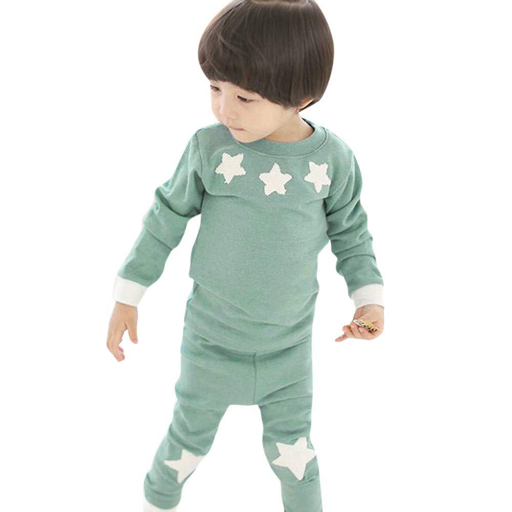 Suma-ma Stars Print Long Sleeve Tops+Pants Pajamas Home Outfits Kids Baby Boys Girls (6T, Green)