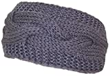 Best Winter Hats Solid Color Cable & Garter Stitch Knit Headband (One Size) - Gray