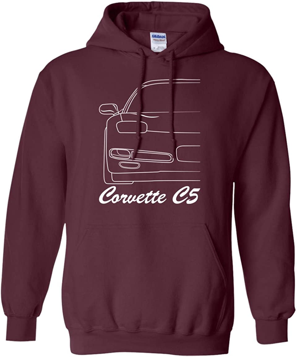 Wheel Spin Addict Mens Corvette C7 Outline Hoodie