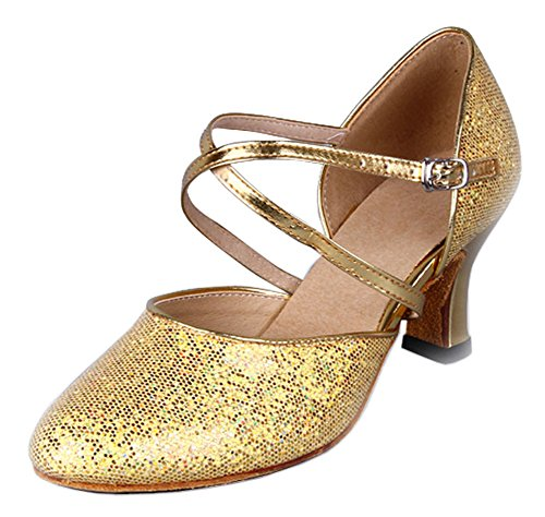 Honingwinkel Dames Criss Cross Strap Metalen Gesp Dansschoenen Goud