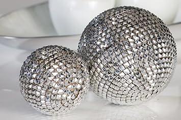 Dekokugel Diamant silber grau Kunststoff 7 cm