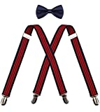 CEAJOO navy suspenders and bow tie men's suspenders navy bowtie boys (3 years to 8 years) Navy Red Stripe