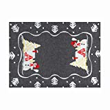 Simhomsen Decorative Dark Gray Snowman Table Place Mats for Christmas Holidays (12 × 18 Inch Set of 4)