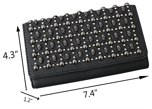 Cool Clutch Wallet Cool Large Cards Black Holder Purse Pulama Studded Skull Capacity RxE4wvvzq
