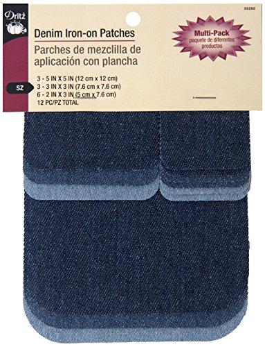Dritz Denim Iron-on Patches-Asst. Sizes & Colors-12 Ct