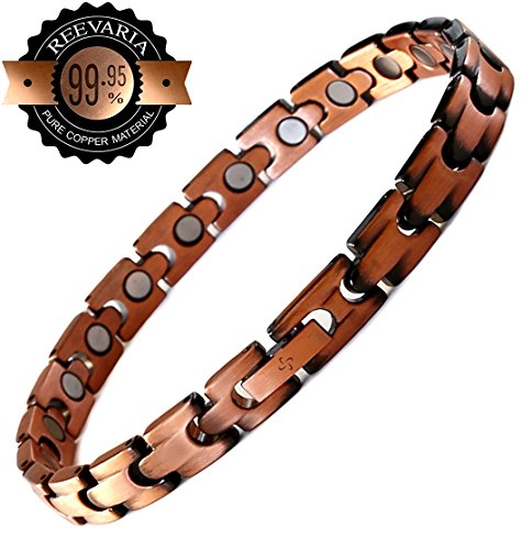 Reevaria Copper Bracelet for Arthritis - Guaranteed 99.9% Pure Copper Magnetic Bracelet for Women with 21 Powerful Magnets for Effective & Natural Relief of Joint Pain, RSI, Carpal Tunnel Copper Non Magnetic Wristband