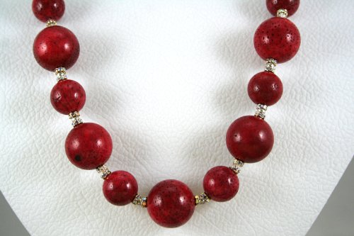 - Natural Sponge Coral And Rhinestone Spacer Necklace
