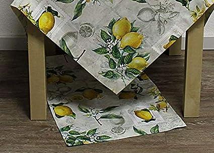Tischläufer ZITRONE Frucht weiß gelb 50x150 cm 100 /% Baumwolle Hossner