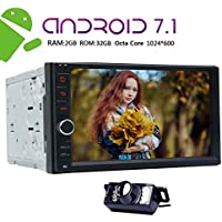 NEW VERSION Android 7.1 Double Din Car Stereo GPS with 8 Cores 2GB RAM 32GB ROM 1024600 TouchScreen support 4G SIM Card ScreenMirror Bluetooth SWC Front Camera+Backup Camera Included