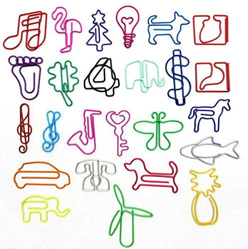 Toolist 40pcs Colorful Bookmark Clips Creative Shape Cute Paper Clips Page Marker Office Supplies