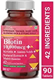 Carbamide Forte Biotin 10,000mcg with Keratin, Bamboo Extract, Amino Acids, Natural Extracts & Multivitamins for Women & Men   Total 42 Ingredients Supplement for Fast Hair Growth – 90 Veg Tablets