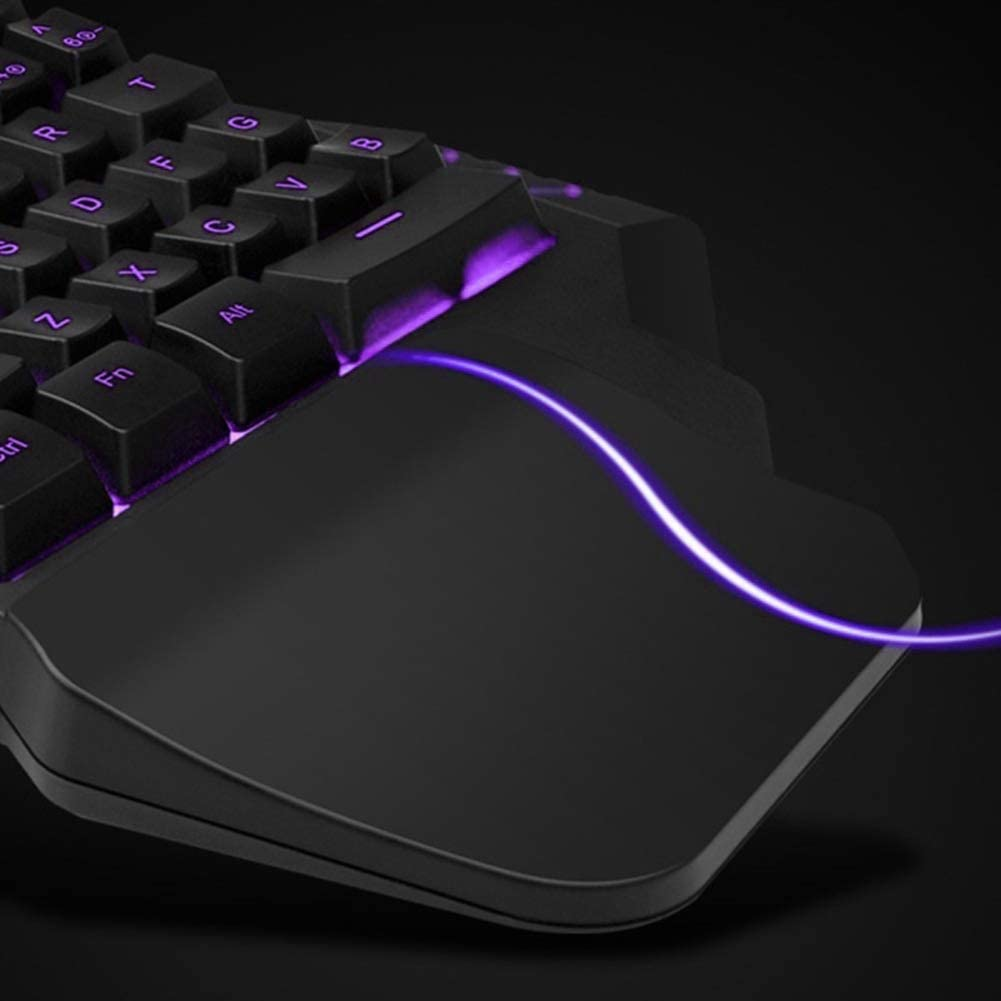 FAgdsyigao Pro Single Hand Glowing RGB Backlit USB Gaming Keyboard Mouse for PC Laptop Desk Decor B