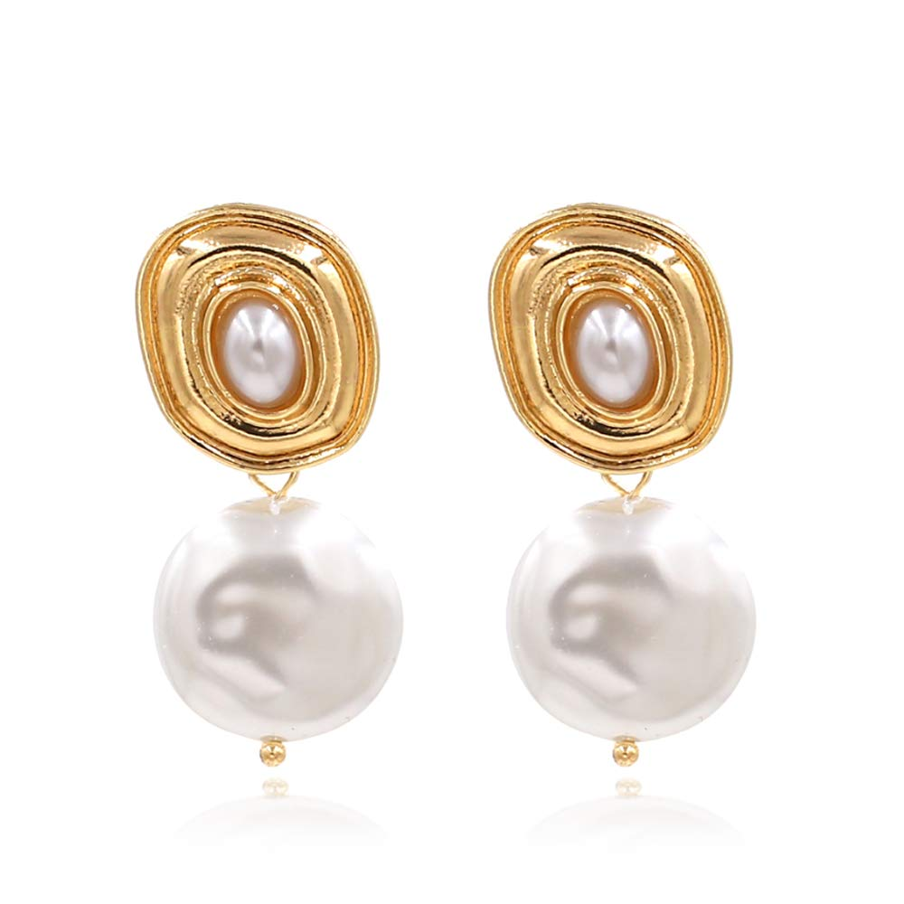 LEMA Gold Pearl//Seashell Drop Statement Earrings for Women and Girls