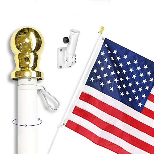 Anley 6 Feet Tangle-Free Flagpole Kit, Aluminum Spinning Wall Mount Flag Pole with USA Flag and Mounting Bracket, Heavy Duty, Weather Resistant & Rust Free - White