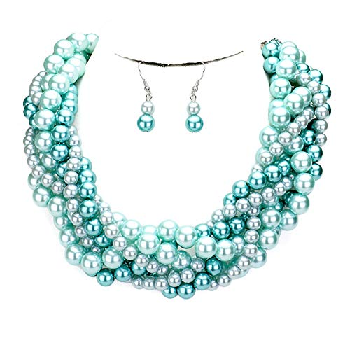 Fashion 21 Women's Simulated Faux Braided, Twist Multi-Strand Pearl Statement Collar Necklace and Earrings Set (Braided - Blue Mix)