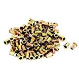 uxcell 100pcs M5x13mm Half Hex Body Flat Head Threaded Blind Rivet Nuts Nutserts