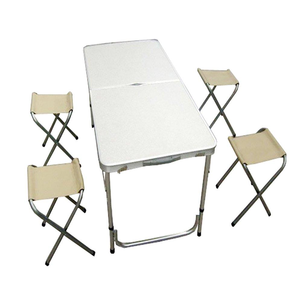 アウトドアキャンプポータブルテーブルと椅子5つのセットバーベキュー表示ピクニックテーブルの車の運転のツアーテーブル B07D5Q6C82  白 Table+4 chairs