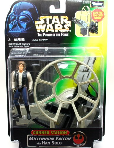 Vaders Tie Fighter Star - Star Wars Power of the Force Gunner Station Millennium Falcon with Han Solo Action Figure
