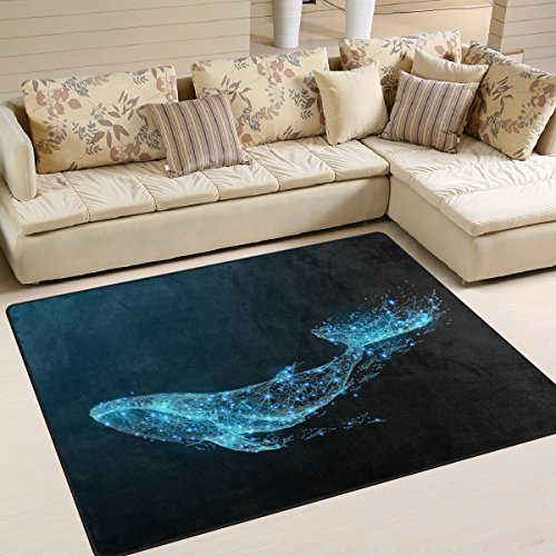 ALAZA Starry Night Blue Whale Area Rug Rugs for Living Room Bedroom 7' x 5'