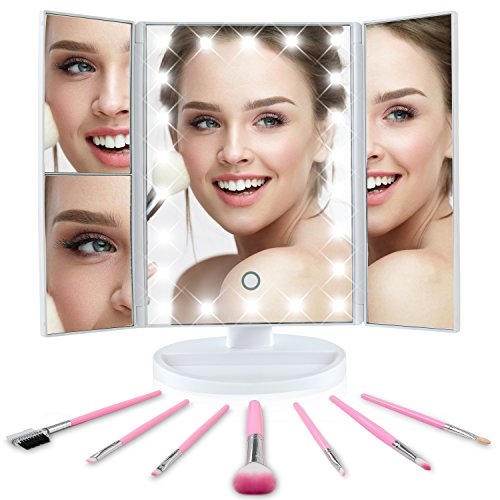 Tri-Fold Lighted Vanity Makeup Mirror, 180°Adjustable, Portable, LED Lights, Touch Screen and 3X/2X/1X Magnification Mirror, Countertop Cosmetic Mirror, Travel & Tabletop Mirror + FREE Makeup Brushes -